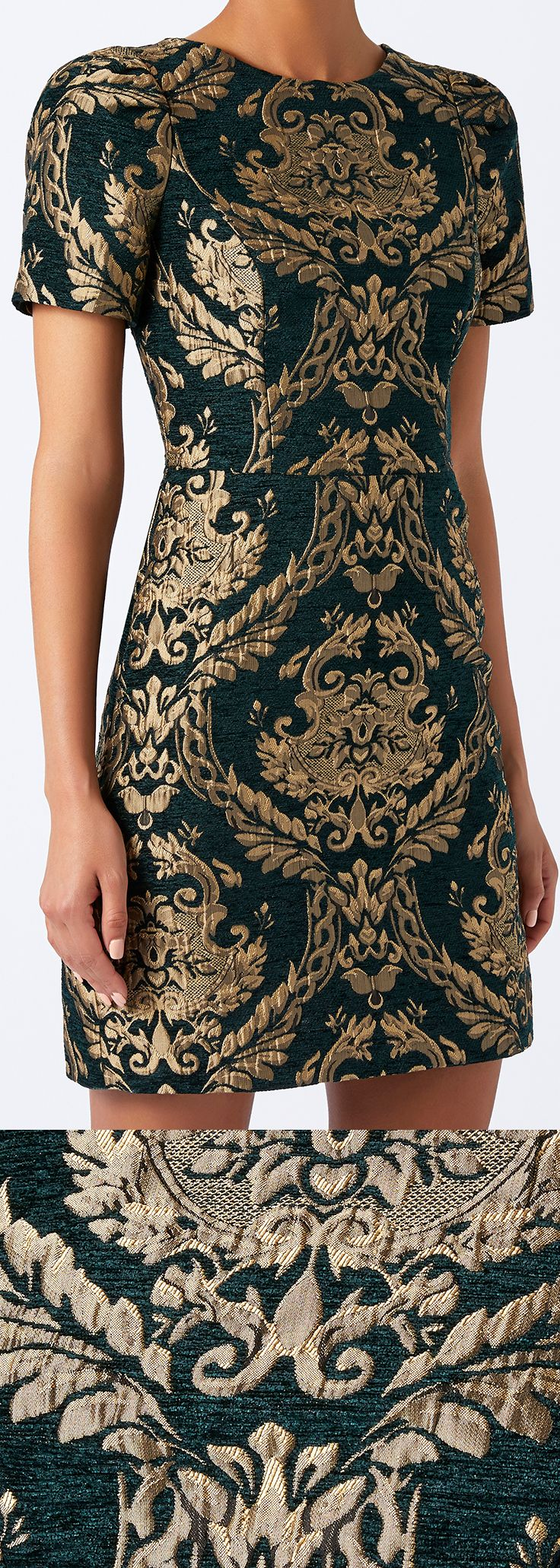 Evoke a touch of Baroque opulence £99.00. Monsoon Roberta jacquard dress. Woven with an elaborate gold pattern, this design features short sleeves and a fitted bodice for a flattering effect. Winter Wedding Guest outfits, what to wear winter wedding. Christmas New Years Eve Party outfit ideas. #festiveseason #Christmas #giftsforher #christmasparty #dress #newyearseve #affiliatelink #winterwedding