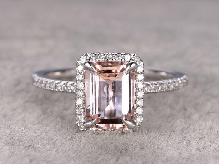 6x8mm Morganit Engagement ring Weißgold, Diamanten, Hochzeit Band, 14k, Emerald Cut, Edelstein Promise Bridal Ring Claw Zinken, Custom Einstellung vorgenommen von popRing auf Etsy https://www.etsy.com/de/listing/286300577/6x8mm-morganit-engagement-ring-weissgold