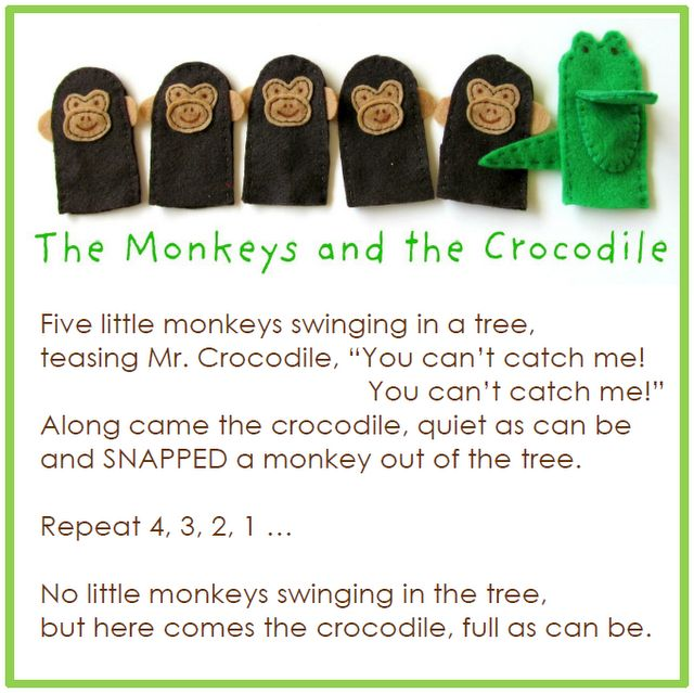 need to make this and others for church bag: Monkey Preschool Crafts, Happy Birthday, Crocodiles Fingers, Felt, Quick Crafts, Fingers Puppets, Five Little Monkey, Fingers Plays, Finger Puppets