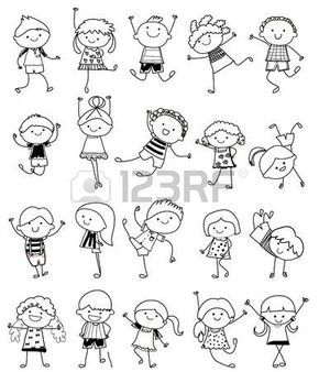 dessin d enfant: croquis dessin - Groupe d'enfants
