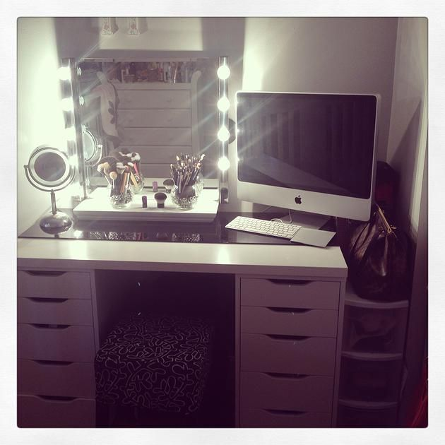 BeautyByLeti DIY Vanity with Mirror Hollywood lights Makeup Pinterest Hollywood mirror ...