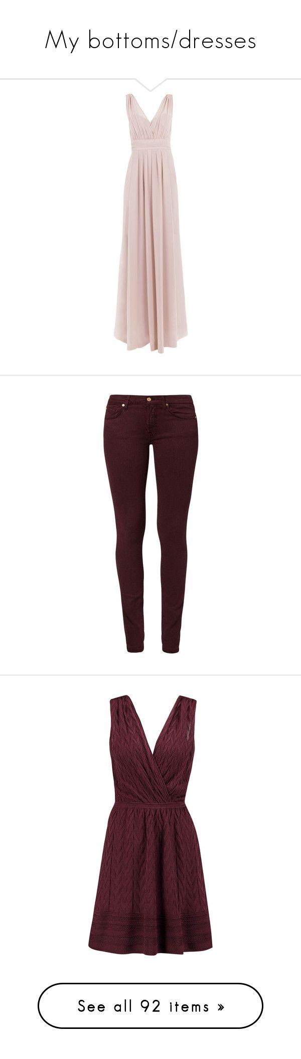 """""""My bottoms/dresses"""" by lightvega ❤ liked on Polyvore featuring dresses, pink dress, jeans, pants, bottoms, bordeaux, skinny jeans, brown skinny jeans, slim fit jeans and brown denim jeans"""