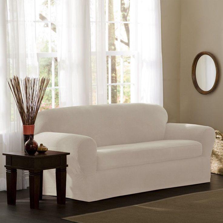 Sofa Mart Maytex Reeves Stretch Piece Sofa Slipcover Natural MAYTEX