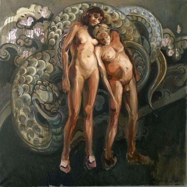 Michał Zaborowski, Adam and Eve, oil on canvas, 150x150cm