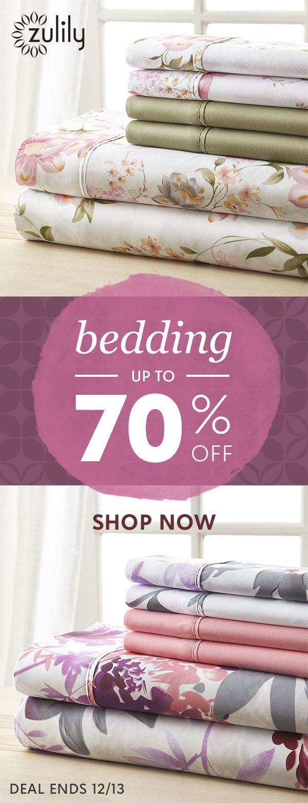 Sign up to shop sheets up to 70% off. Reinvent your space with these trend-right finds for the bedroom. And the best part? You won't have to wait long for these fabulous finds to arrive! Browse our collection of sheet sets in solid colors and patterns, as well as comfortable quilts, blankets, and comforters. Deal ends 12/13.