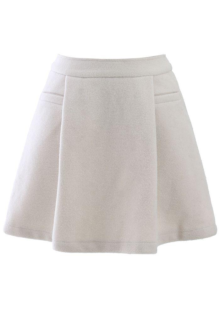 Off-White Wool-Felt Skater Skirt