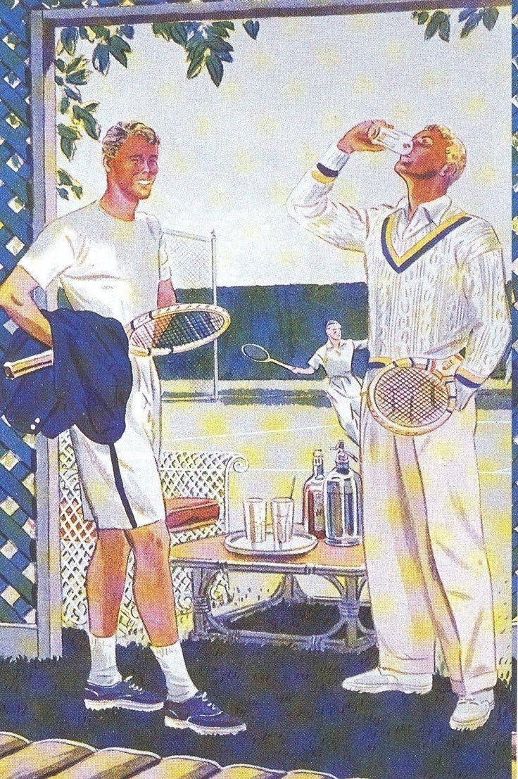men 1930 tennis cricket sweater drinking sports athletic vintage blonde poster