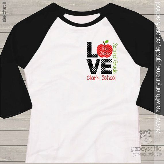 Teacher shirt - love school FRONT and BACK personalized raglan shirt for teachers