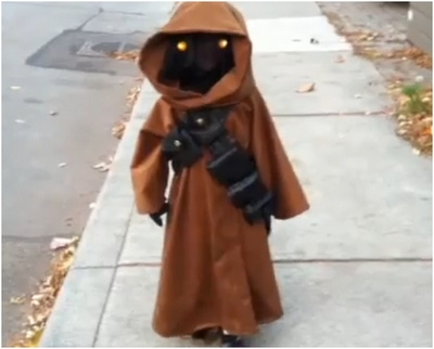 Homemade Jawa Costume- I like the mesh used so that child can see out