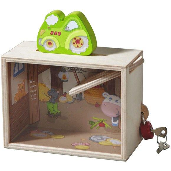So macht Taschengeld sparen Spaß! Ihr Kind kann die eingeworfenen Münzen auf ihrem Weg in die Box genau beobachten und lernt somit spielerisch den Umgang mit Geld.