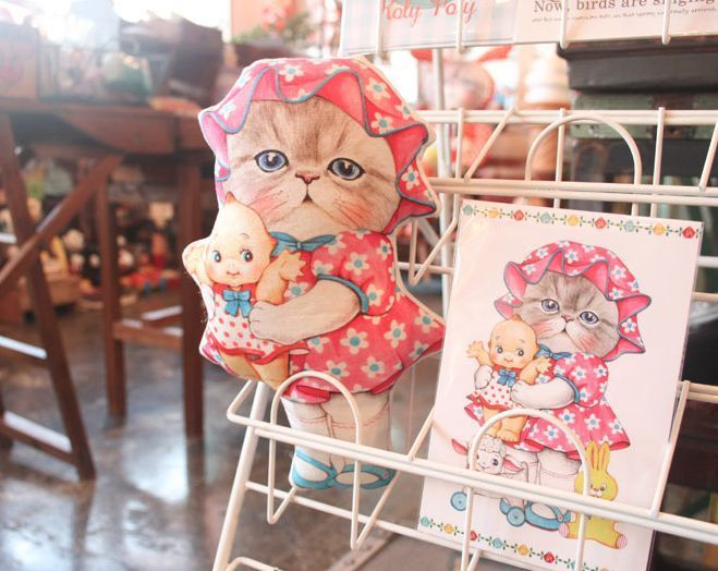 Ru-mi with Old toys/cat/doll/himalayan/persian/pet/plush/fabric/linen