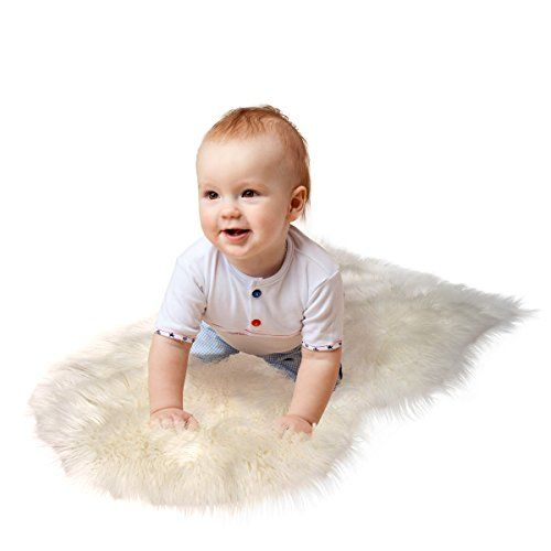RUGLUSH TM Super Soft Sheepskin Rug - Excellent Quality Faux Fur Rug - Modern Stylish Design - Used As An Area Rug Or Across Your Armchair - Cozy Feeling Like Real Wool - Back Lining Suede Fabric