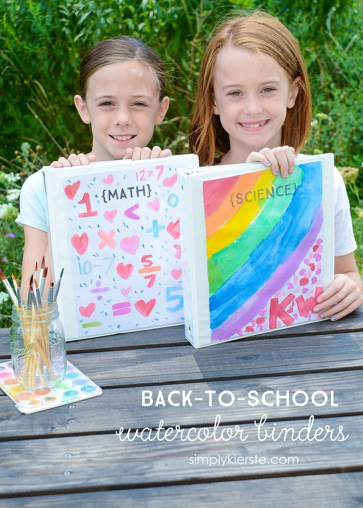 Let your child's creativity shine through with this fun & adorable DIY Back-to-School Watercolor Binders! Personalize for each subject!