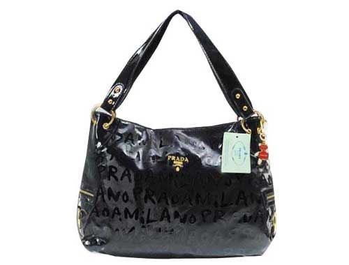 980ce2f9cf Cheap Prada Lettering Shiny Leather Handbag Black Pin It PRADA14827   pradahandbagsblack