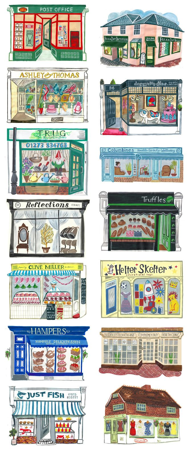 Students create a store front, perspective doors, windows, angles, design, font, decor. Hurstpierpoint - Sarah Tanat-Jones