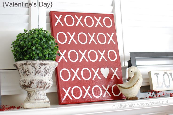 Valentine's day XOXO canvas TUTORIAL + FREE printable for an 8x10 frame