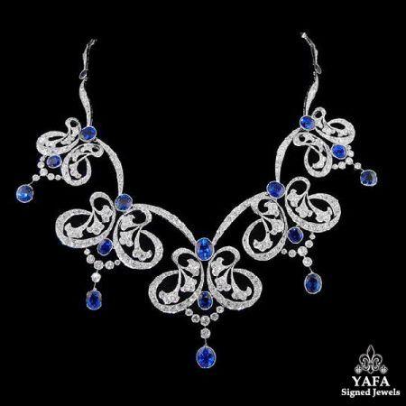Platinum Natural Sapphire Diamond Necklace