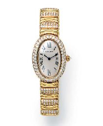 "A DIAMOND AND GOLD ""BAIGNOIRE"" WRISTWATCH, BY CARTIER With quartz movement, the white oblong dial with black Roman numerals and blued-steel hands, within a pavé-set diamond oval bezel, with inverted diamond crown, to the polished gold and pavé-set diamond link bracelet and deployand buckle, mounted in 18k gold, 6½ ins., with Swiss assay mark and maker's mark, in a Cartier red leather fitted case Dial, case and buckle signed Cartier, case nos. 1954 and CC455741 Z"