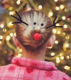 Silly Reindeer Christmas Hairdo - Click image to find more hair posts