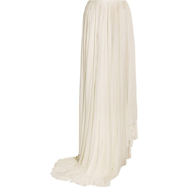 Vionnet Draped satin-jersey maxi skirt ($935) ❤ liked on Polyvore featuring skirts, ivory, ivory maxi skirt, pleated maxi skirt, long white slip, long skirts and long white maxi skirt