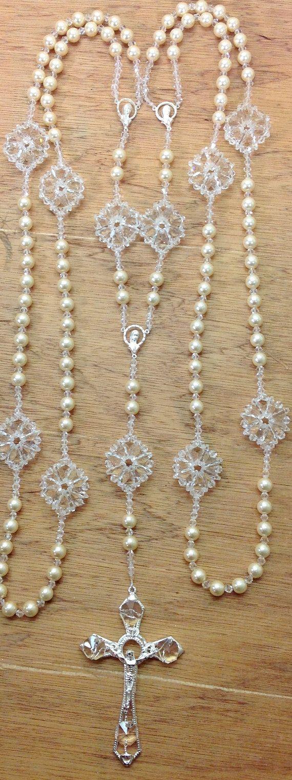 Swarovski Crystal y Perla Lazo de boda / by AVAandCOMPANY on Etsy, $94.99