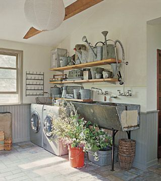 rustic + modern laundry room.