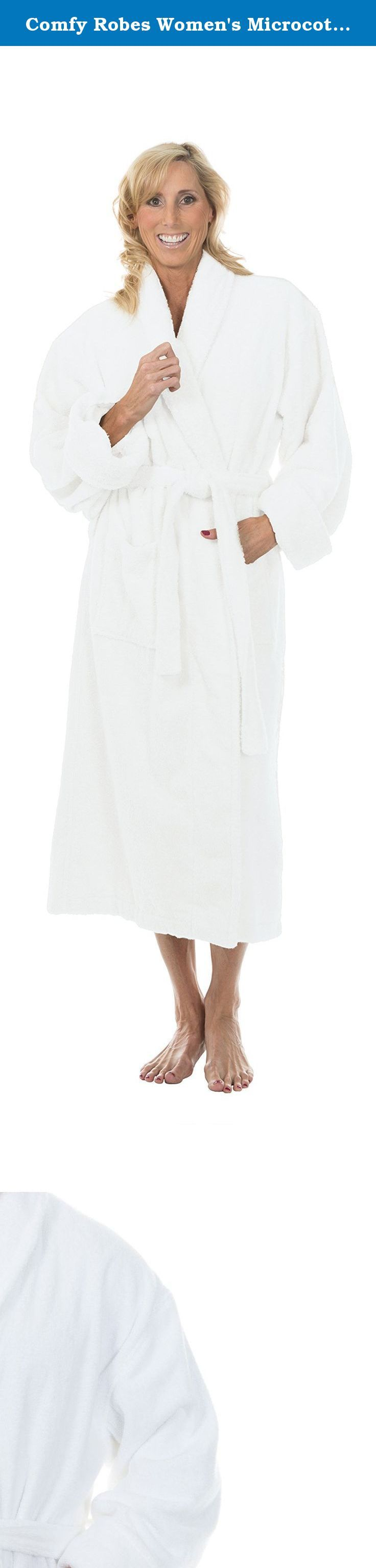 Comfy Robes Women's Microcotton Shawl Collar Bathrobe, L/XL White. This robe is made of 100% microcotton terry fabric, a recent innovation in the robe industry. Uniquely plush, luxuriously soft and a wonderfully absorbent material that makes this an exciting new type of robe, designed with comfort in mind. Customers are always surprised how soft and wonderfully comfy this fabric is and it has become a customer favorite!.