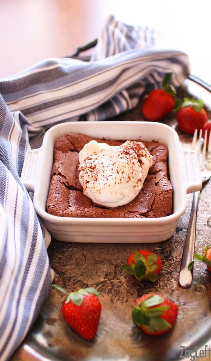 A decadent, gluten-free Flourless Chocolate Cake For One! Rich and delicious, this single serving dessert will surely satisfy a chocolate craving.   www.zagleft.com