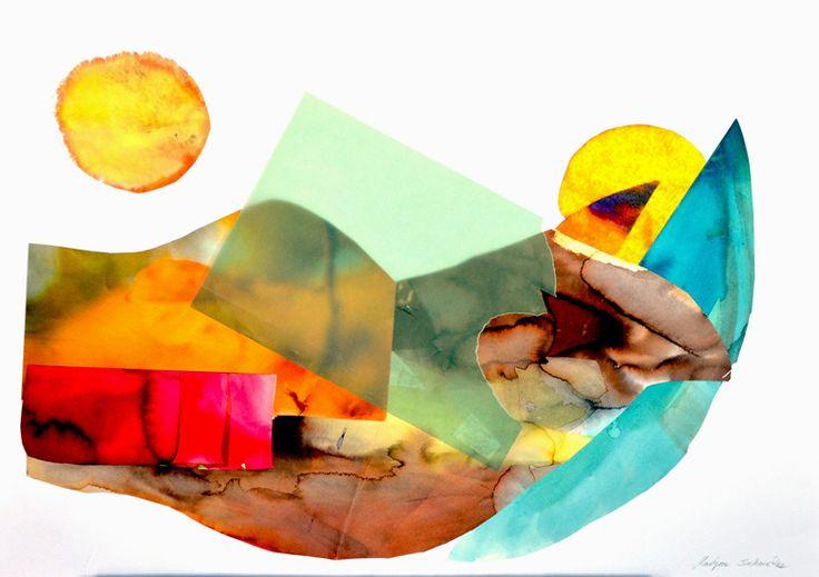 9.Bez tytułu V, Martyna Bocheńska, abstrakcyjny kolaż inspirowany pejzażem, 100 x 70 cm, oprawiony w białe ramy