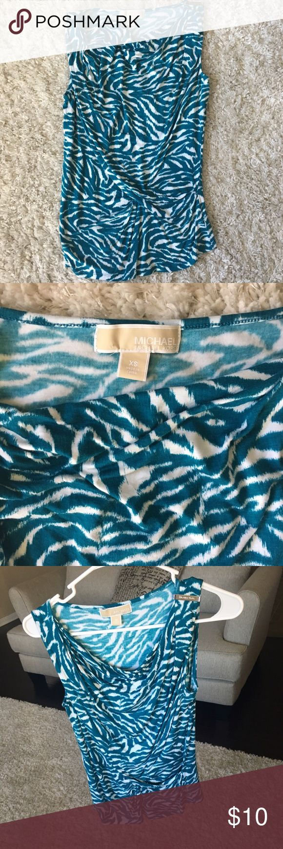Michael Kors teal and white blouse in XS. Michael Kors teal and white zebra print blouse in XS. Michael Kors Tops