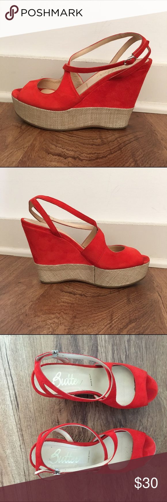 """Butter Orange Wedges Size 6.5 Bright orange wedges made in Italy. Wedge height: 4.5"""", platform heigh: 1.25"""". Really comfortable. Great pop of color! Butter Shoes Shoes Wedges"""