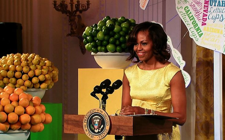 First Lady Michelle Obama welcomes junior chefs and their parents to the 2013 Kids' State Dinner at the White House.