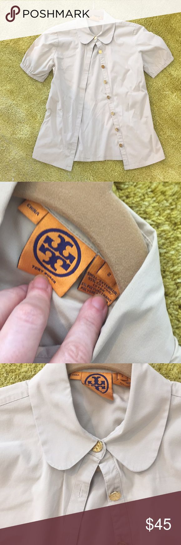 Tory Burch tan shirt w/ peter pan collar Cute Tory Burch blouse with classic story gold buttons and Peter Pan collar. In great condition!  Short sleeves with button on Back. Tory Burch Tops Button Down Shirts