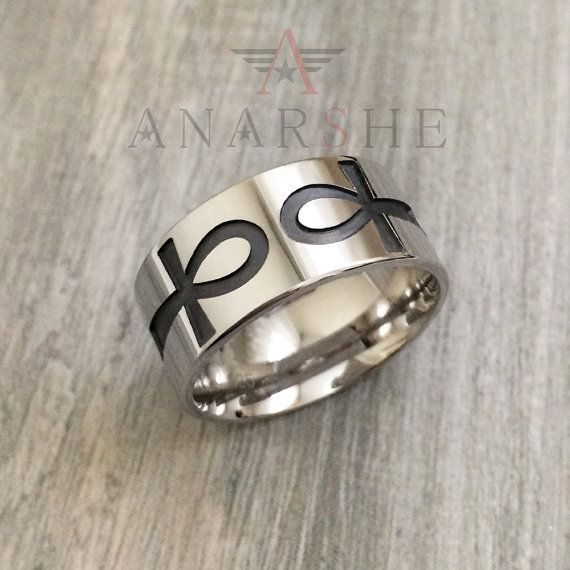 Simple Ankh Ring in Sterling Silver Metal Ankh Band Ring by ShopAnarshe