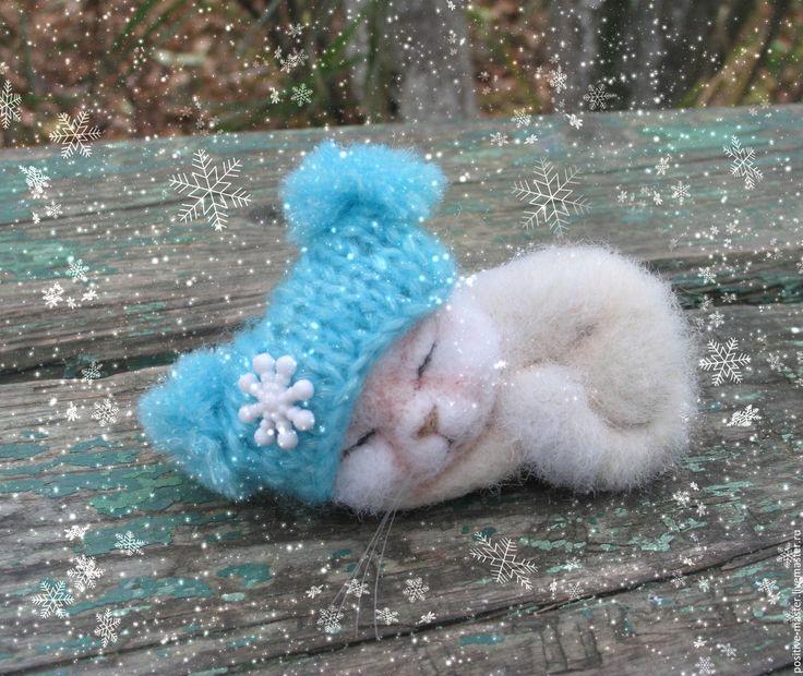 Купить Первый снег.Котенок - белый, Снег, снежный, первый снег, голубой, белй кот