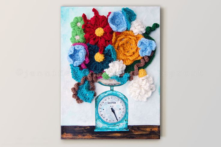 Salter Scale CROCHET PAINTING on CANVAS by sweetdashsprout