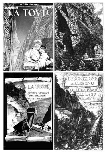 COPERTINA DE LA TORRE Due esempi di 'traduzione letterale' di immaginario piranesiano Sopra: copertina dell'edizione francese dell'album e registrato dal titolo Spaccato degli Speroni, i cui contrafforti servono alle Fondamenta del Mausoleo d'Elio Adriano (Le Antichitá Romane IV, 1756). Sotto: Pagina di La Torre (edizione spagnola, a sinistra), frontespizio e descrizione e dell'emissario del Lago di Albano (1762).