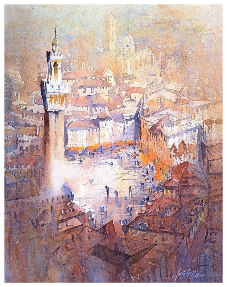 Piazza del Campo - Siena by Thomas W. Schaller Watercolor ~ 30 inches x 22 inches