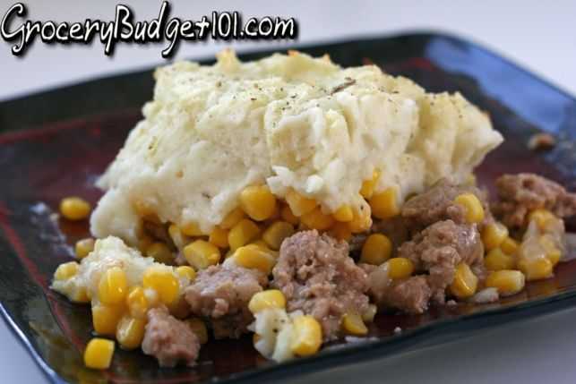 A hearty layered casserole of perfectly seasoned meat, corn and fluffy mashed potatoes makes a fast, dirt cheap meal in under 30 minutes.............Where I'm from, this is called poor mans pie, and we have it  like 2-3 times a month lol, tryina make it sound like a fancy casserole.
