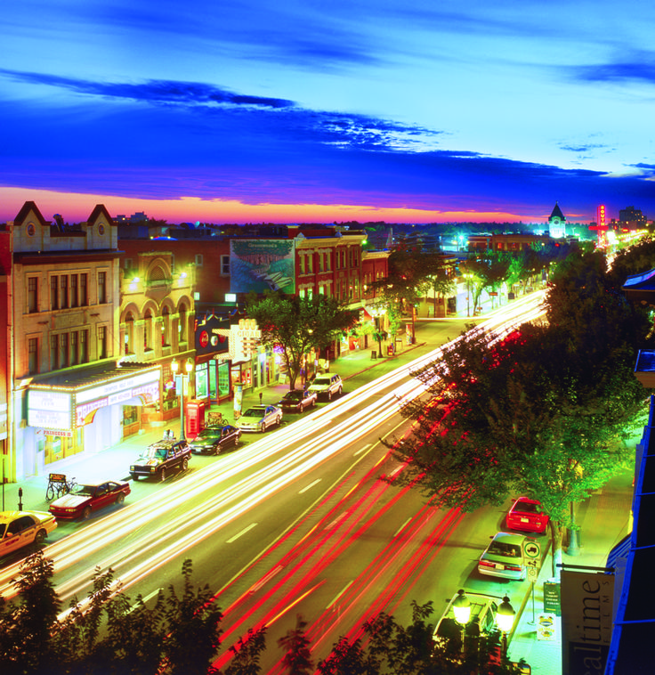 Edmonton's Whyte Avenue is packed full of cafes, curio shops, pubs and nightlife. It also features exhibits by local artists during the annual Art Walk.