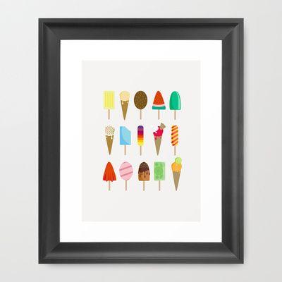 Ice+Cream+Framed+Art+Print+by+Celine+Descamps+-+$33.00