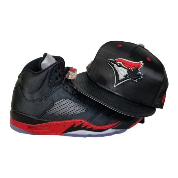 28c1bc0f6aa5a Matching New Era Toronto Blue Jays Snapback Hat for Jordan 5 Bred Satin  Black   Red