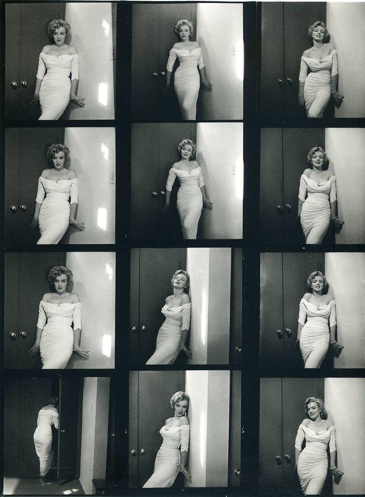 Planche contact de Marylin Monroe en robe blanche