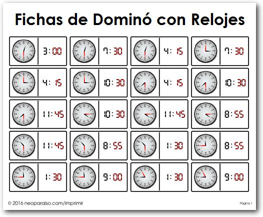 Dominó de Relojes