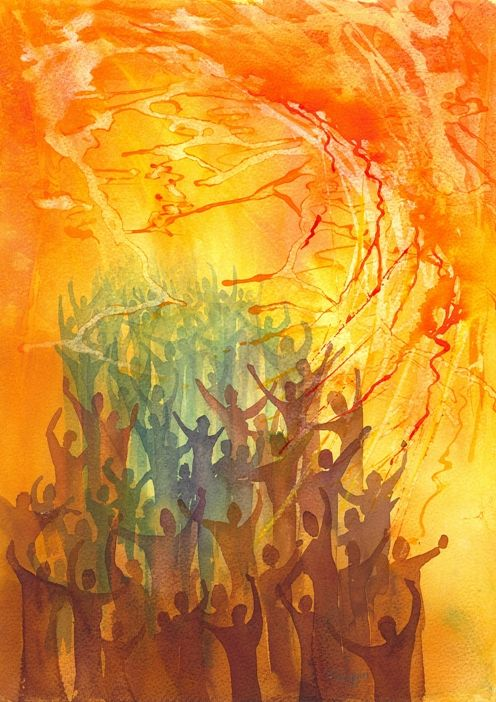 Pentecost by Ian Turbitt A worshipper, reaching up to God, is filled with the dove of the Holy Spirit and consumed with refinining Pentecost fire. Description from pinterest.com. I searched for this on bing.com/images