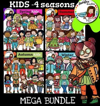 This bundle includes 88 images!!!Kids clip art - 4 seasons mega bundle This is a collection of kids in a variety of poses and clothes to use in your projects throughout the year. There are 44 different kids. 11 for each season.Spring kids: to use in your spring projects, with flowered clothes and bright colors.Summer kids: kids with fresh, light-colored clothes.Autumn kids: to use in your Fall and Autumn products.