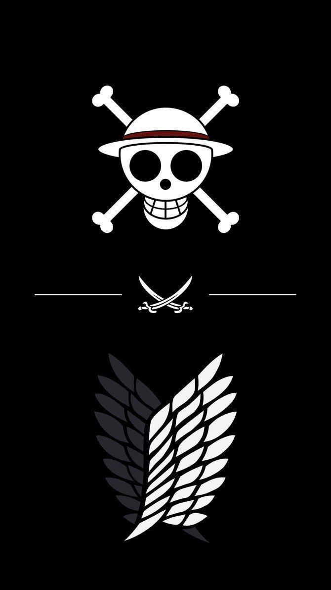 One Piece X Attack On Titan Logo Wallpaper Hd Anime Wallpapers Anime Wallpaper Android Wallpaper