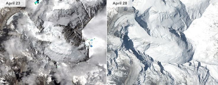 This side-by-side comparison shows Mount Everest before and after the 7.8-magnitude earthquake on April 25, 2015.<br />