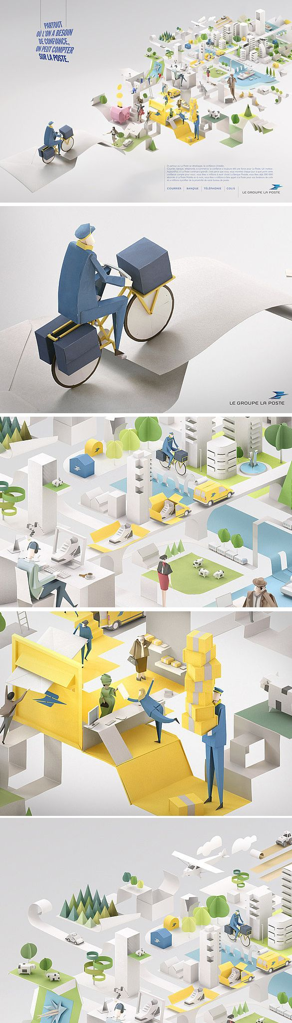 La Poste by Peyranne Francois Art direction and design TV commercial and print campaign, directed by Edouard SALIER.