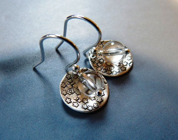 Textured disc earrings with rock crystal silver earrings by Mirma